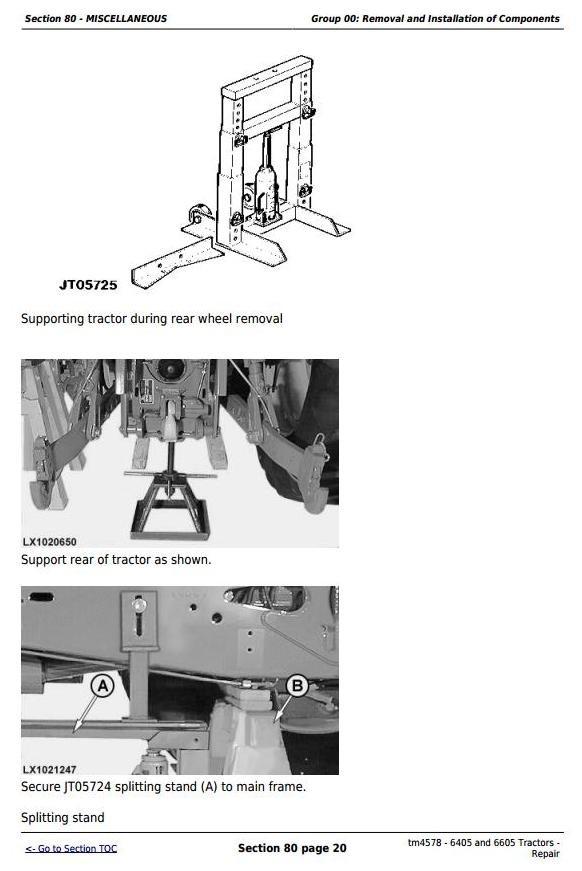 John Deere 6405 and 6605 North American Tractors Service Repair Manual (tm4578)