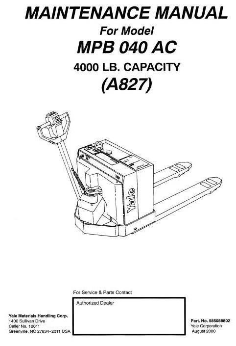 yale pallet truck type a827 mp040ac mpb040ac worksho rh sellfy com yale pallet jack battery wiring diagram Yale Hand Jack