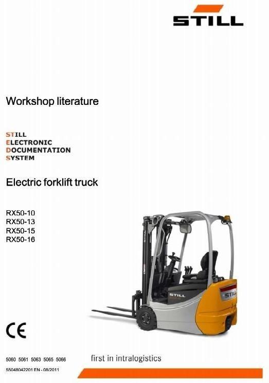 Still Electric Forklift Type RX50-10, RX50-13, RX50-15, RX50-16: 5060-5066 Workshop Service Manual
