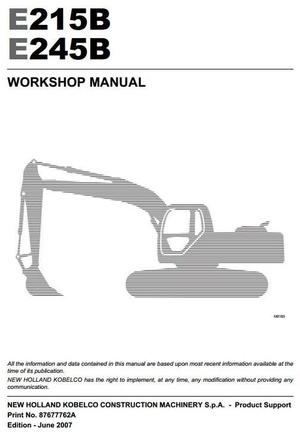 New Holland Kobelco Crawler Excavator E215B, E245B Workshop Service Manual