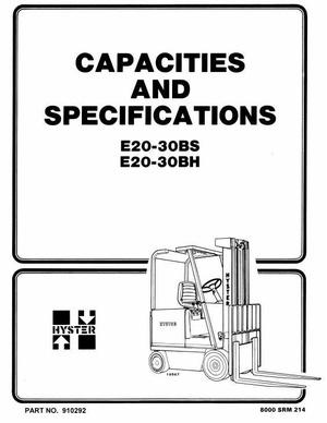 Hyster Electric Forklift Truck Type B114: E20B, E20BH, E25B, E25BH, E30BH, E30BS Workshop Manual