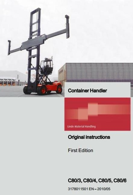 Linde Container Handler Type 317: C80/3, C80/4, C80/5, C80/6 Operating Instructions (User Manual)