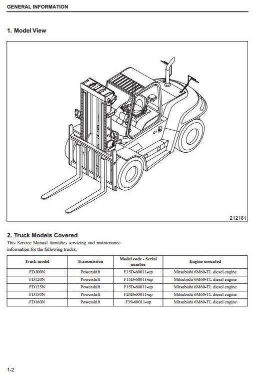 Mitsubishi Diesel Forklift Truck FD100N, FD120N, FD135N, FD150AN, FD160AN Service Manual