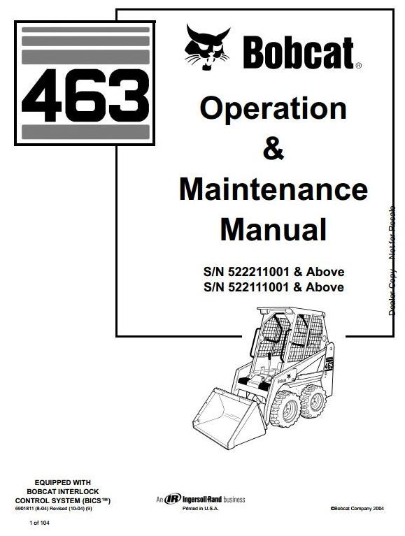 bobcat skid steer loader type 463 s70 s n 522111001 rh sellfy com Bobcat Loader Parts Diagram Bobcat Loader Parts Diagram
