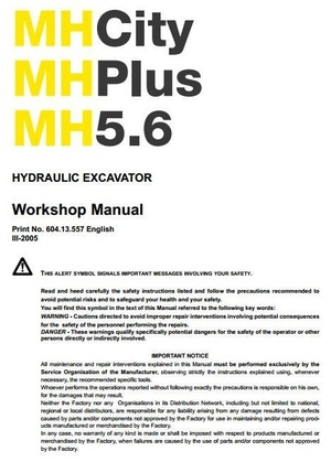 New Holland Wheel Excavator  MH 5.6, MH City, MH Plus Workshop Service Manual