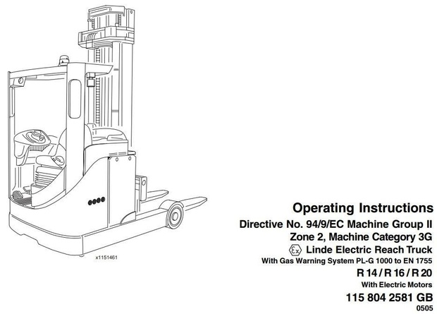 Linde Electric Reach Truck Type 115 Explosion Protected: R14, R16, R20 Operating Instructions
