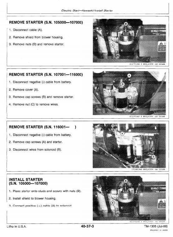 John Deere Commercial Walk-Behind Mowers 32, 36, 48, 52 inch Workshop Service Manual (tm1305)