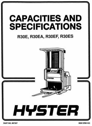 Hyster Electric Reach Truck Type D118: R30E, R30EA, R30EF Workshop Manual