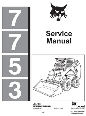 Bobcat Skid Steer Loader Type 7753 Workshop Service Manual