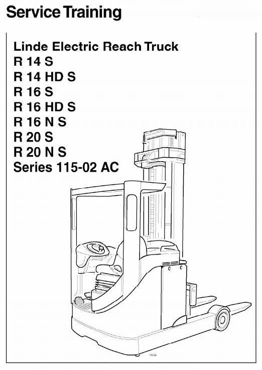 Linde Electric Reach Truck Type 115-02: R14, R16, R20 included EX Series Service Training Manual