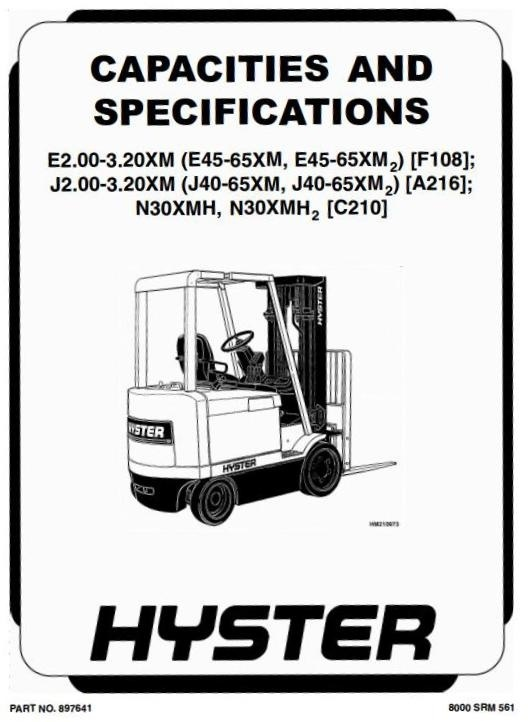 Hyster Forklift Truck Type F108: E45XM2, E50XM2, E55XM2, E60XM2, E65XM2 Workshop Manual