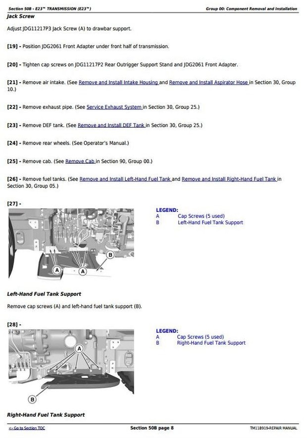 John Deere 7210R, 7230R, 7250R, 7270R, 7290R & 7310R Tractors Service RepairRepair Manual (TM118919)