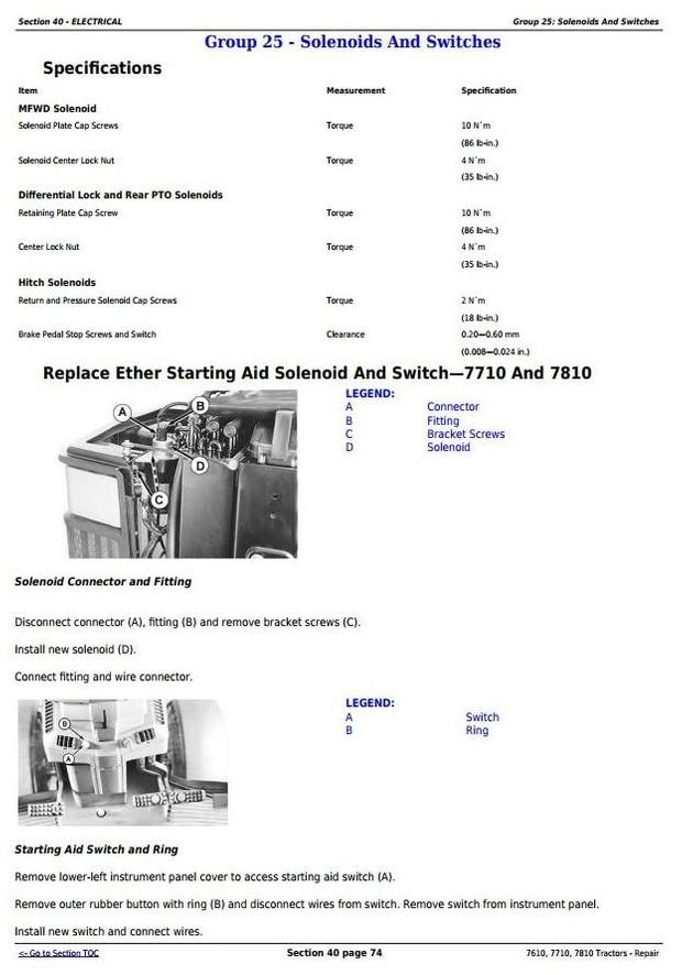 John Deere 7610, 7710, 7810  2WD or MFWD Tractors Service Repair Manual (TM1651)