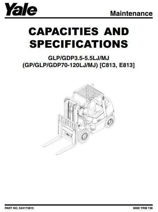 Yale Forklift (E813): GP/GLP/GDP 70/80/90 LJ,  GP/GLP/GDP 100/110/120 MJ Workshop Service Manual