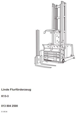 Linde Truck Type 013: K13-3 Operating Instructions (User Manual)