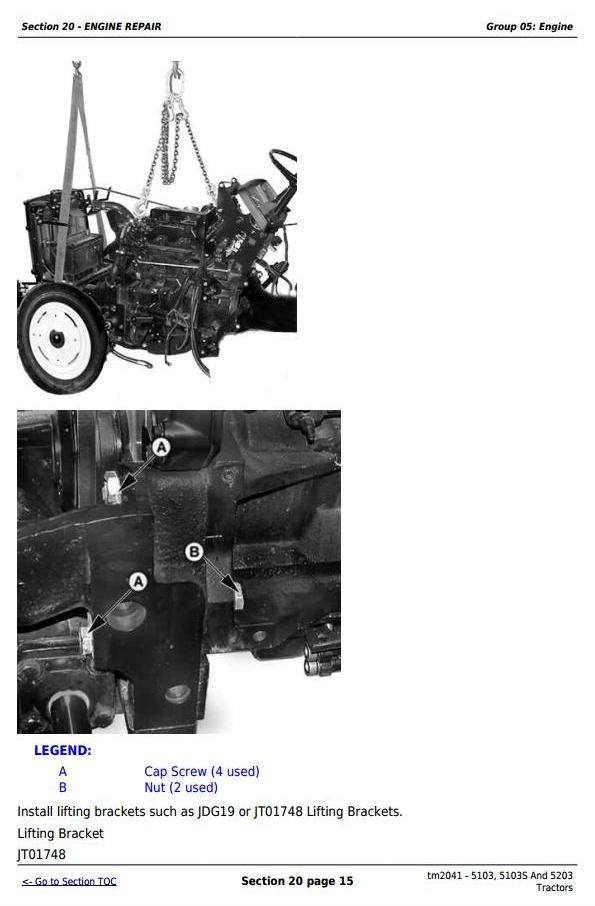 John Deere 5103, 5103S And 5203 Tractors Technical  Repair Manual (tm2041)