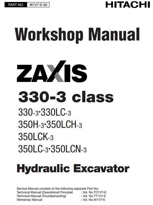 Hitachi Excavator Zaxis 330-3 Series: 330-3, 330LC-3, 350H-3, 350LC (-, H, K, N)-3 Service Manual