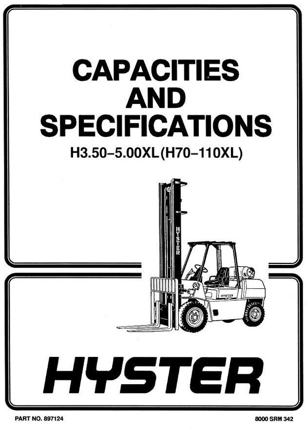 Hyster Forklift Truck Type F005, G005: H70XL, H80XL, H90XL, H100XL, H110XL Workshop Manual