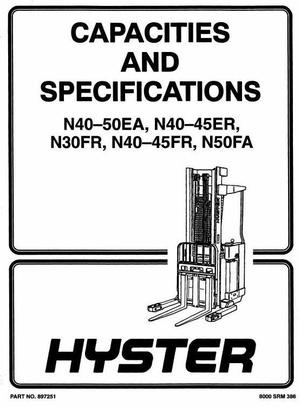 Hyster Electric Forklift Truck Type A217: N30FR Workshop Manual