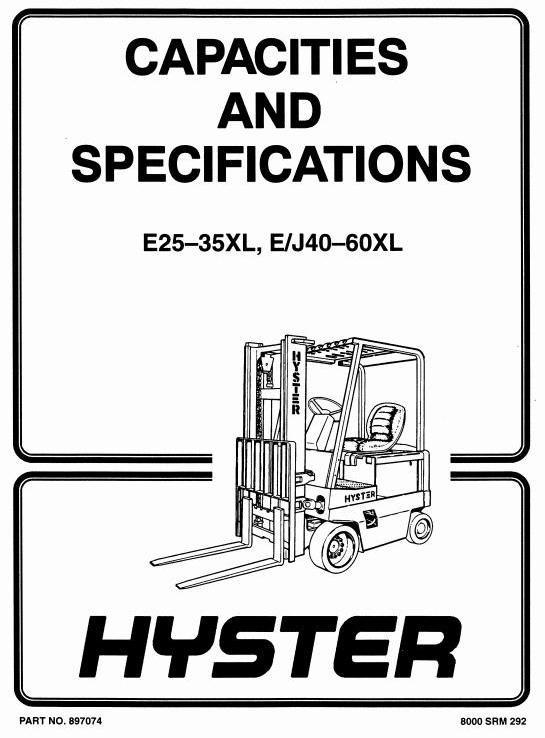 Hyster Forklift Truck Type B168: J2.00XL (J40XL), J2.50XL (J50XL), J3.00XL (J60XL) Workshop Manual