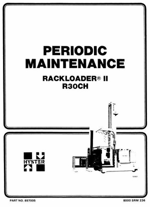 Hyster Electric RackLoader II Type A186: R30CH Workshop Service Manual