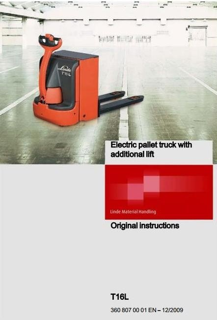 Linde Electric Pallet Truck Type 360: T16L Operating Instructions (User Manual)