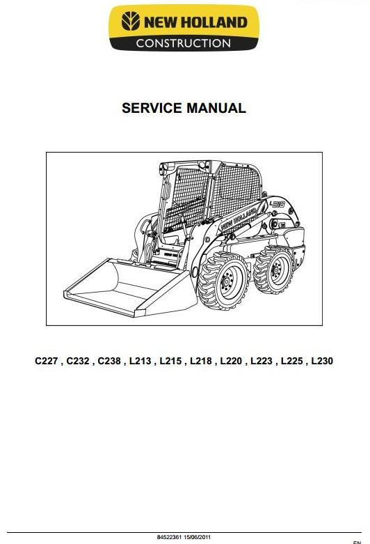 new holland loader c227 c232 c238 l213 l215 l218 rh sellfy com new holland l230 operators manual New Holland L230 Oil Change