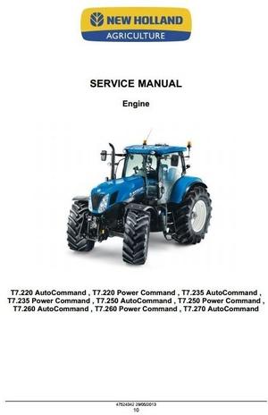 New Holland Tractors T7.220, T7.235, T7.250, T7.260, T7.270 Workshop Service Manual