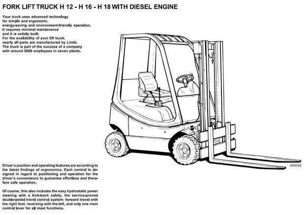 Linde Diesel Forklift Truck 350 series: H12, H16, H18 Operating Manual (User Manual)