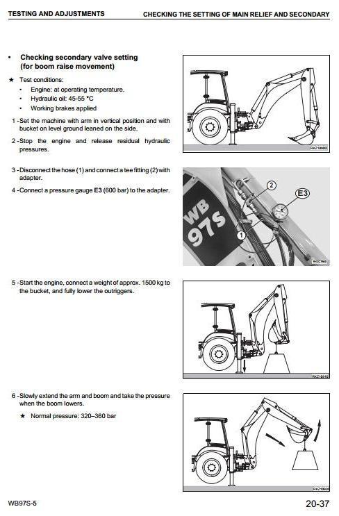 Komatsu Backhoe Loader WB97S-5 sn: F00003 and up Workshop Service Manual