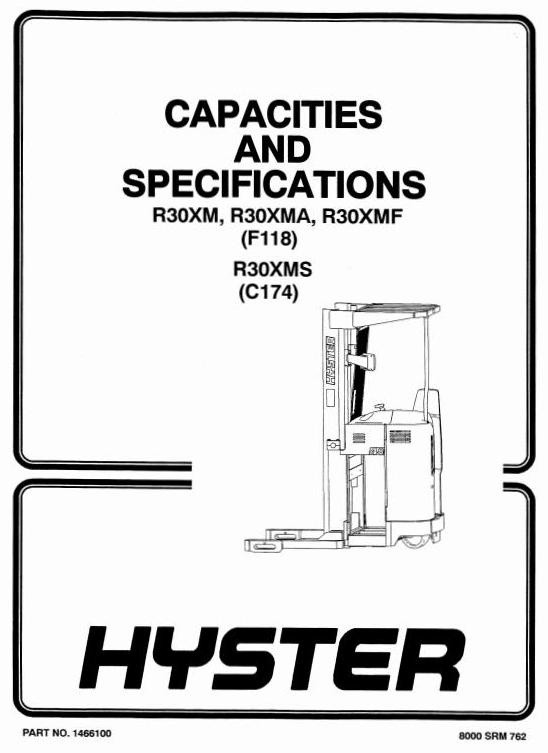 Hyster Electric Reach Truck Type C174: R30XMS Workshop Service Manual
