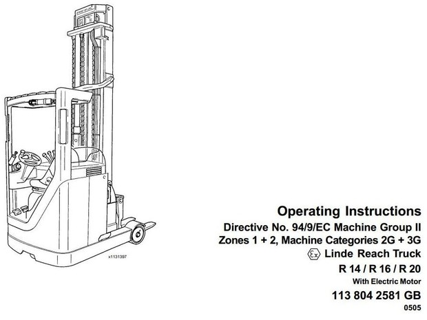 Linde Electric Reach Truck Type 113 Explosion Protected: R14 Ex,R16 Ex,R20 Ex Operating Instructions