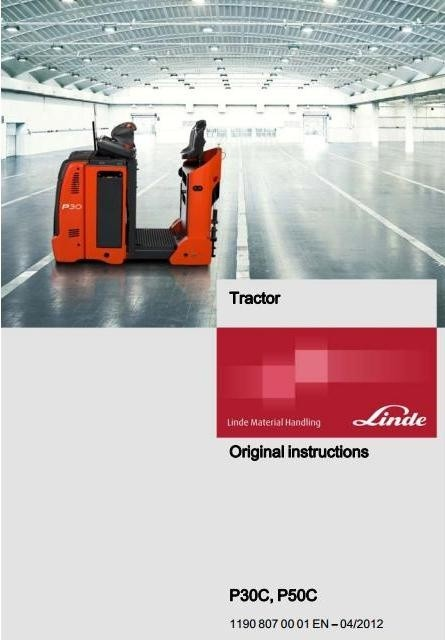 Linde Electric Tractor Type 1190: P30C, P50C Operating Instructions (User Manual)