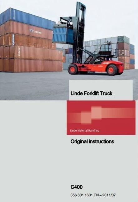 Linde Container Handler Type 356: C400 Operating Instructions (User Manual)