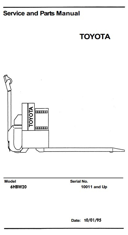 Toyota Electric Pallet Truck Type 6HBW20 sn 10011-17000 Workshop Service Manual