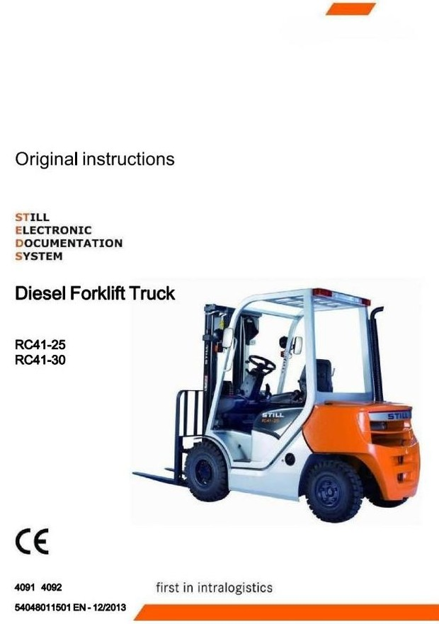 Still Diesel Truck RC41-25, RC41-30: 4091, 4092 Operating and Maintenance Instructions