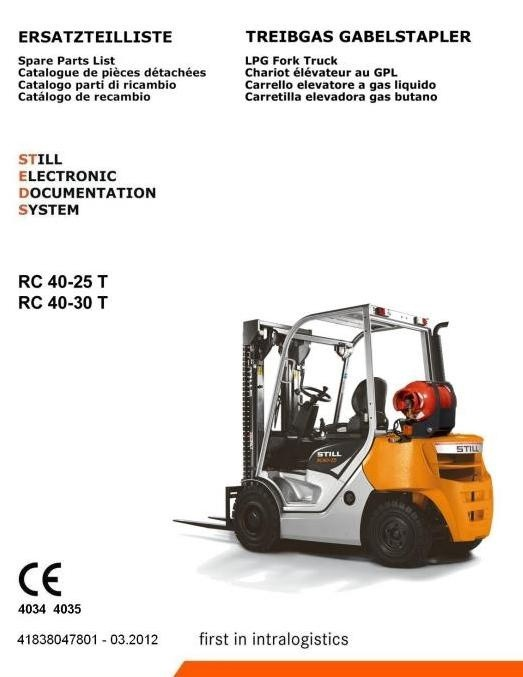 Still LPG Lift Truck Type RC40-25T, RC40-30T: 4034, 4035 Spare Parts Manual, Catalogue
