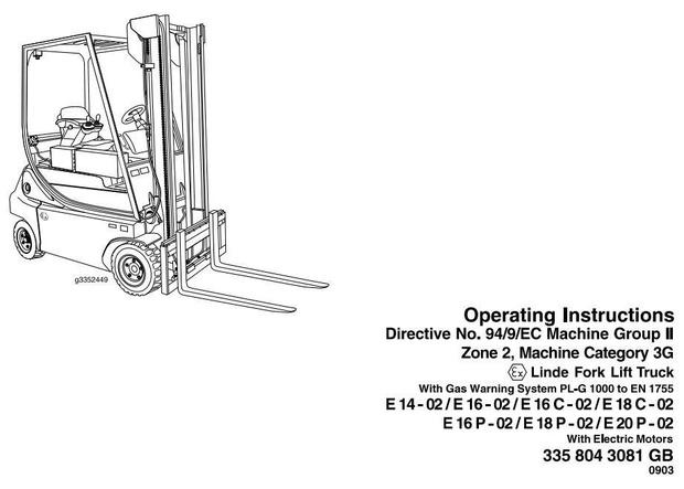 Linde Explosion Proof Lift Truck 335-02 Series E14,E16,E16C,E18C,E16P, E18P,E20P Operating Manual