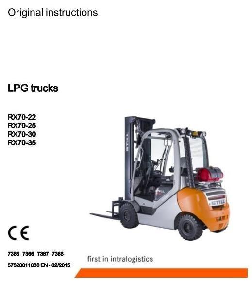 Still Forklift Truck RX70-22T, RX70-25T, RX70-30T, RX70-35T: 7365, 7366, 7367, 7368 Operating Manual