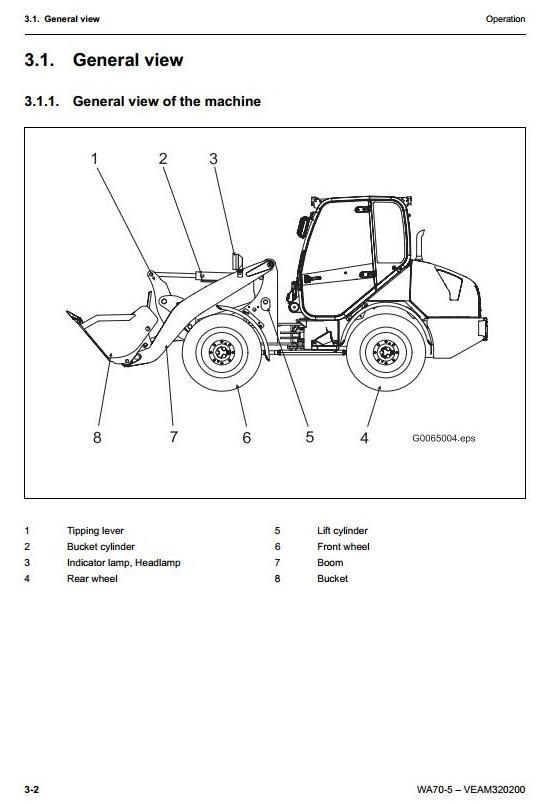 Komatsu Wheel Loader WA70-5 sn: H50051 and up Workshop Service Manual