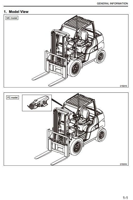Mitsubishi Diesel Forklift Truck FD40N, FD45N, FD50N, FD50CN, FD55N Workshop Service Manual