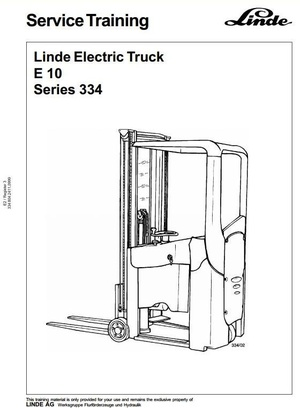 Linde Electric Forklift Truck Type 334: E10 Workshop Service Manual