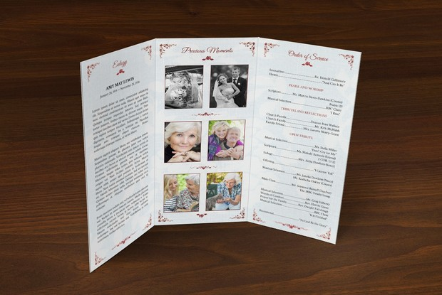 Victorian Tri Fold Funeral Program Publisher Template