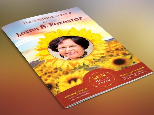 Sunflower Funeral Program Template - Publisher