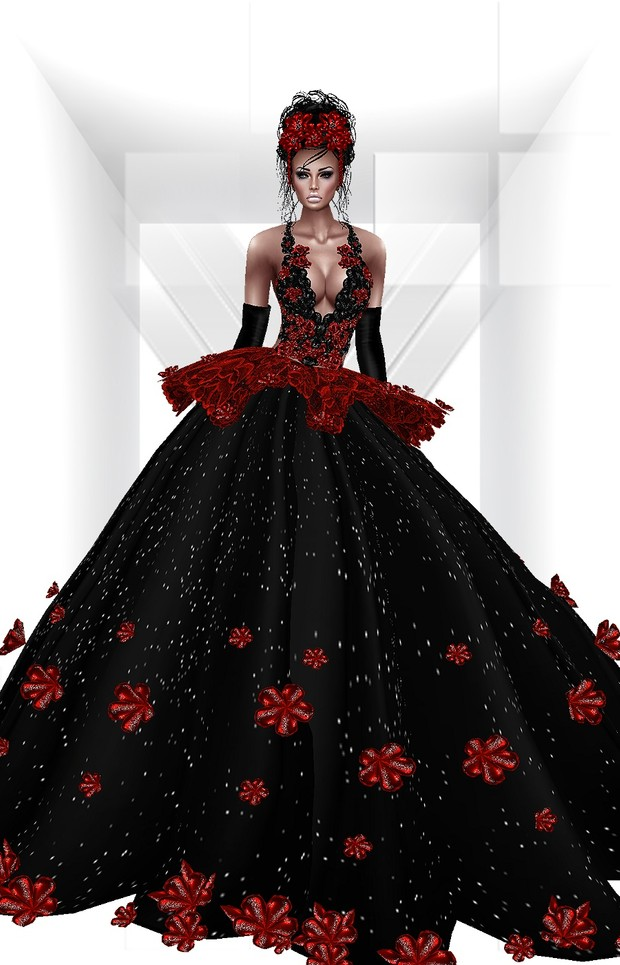 The Star Gown+Gloves+Head Flowers