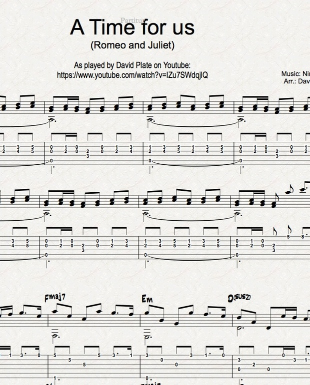 A Time For Us Romeo And Juliet Guitar Arrangement