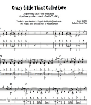 CRAZY LITTLE THING CALLED LOVE (Queen) - Fingerstyle Arrangement (TABs + Notation)