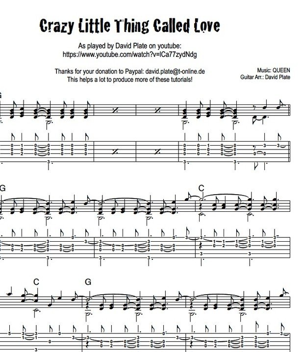 CRAZY LITTLE THING CALLED LOVE (Queen) - Fingerstyle A