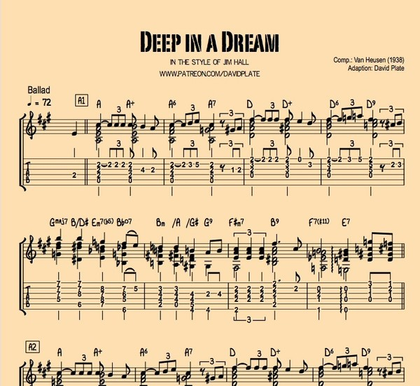 DEEP IN A DREAM - Guitar Arrangement in the style of Jim Hall