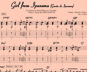 GIRL FROM IPANEMA (Garota de Ipanema) Guitar Arrangement by David Plate Score + TABs